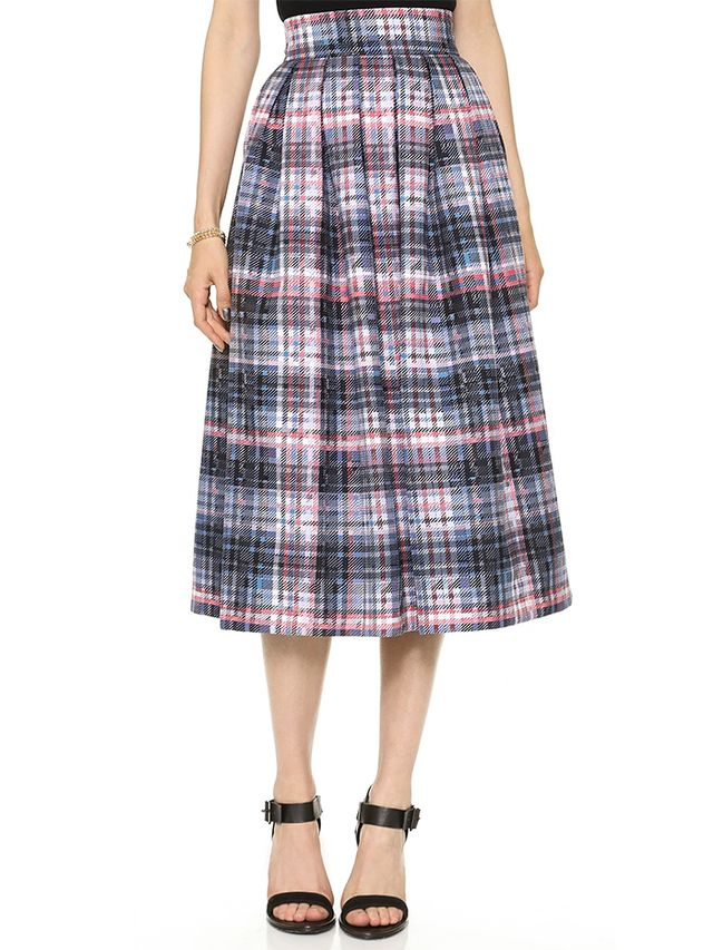 Nicholas Digital Check Silk Skirt