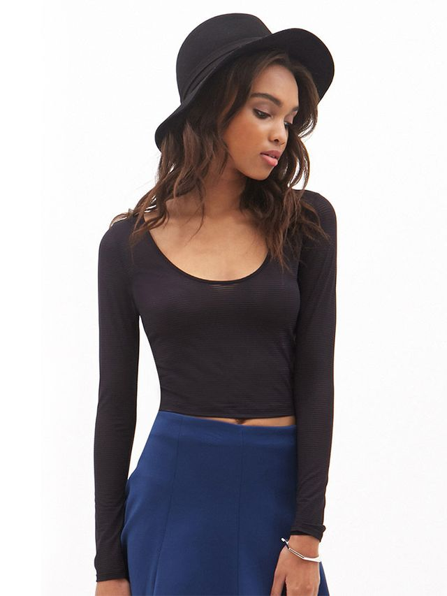 Forever21 Shadow Stripe Crop Top
