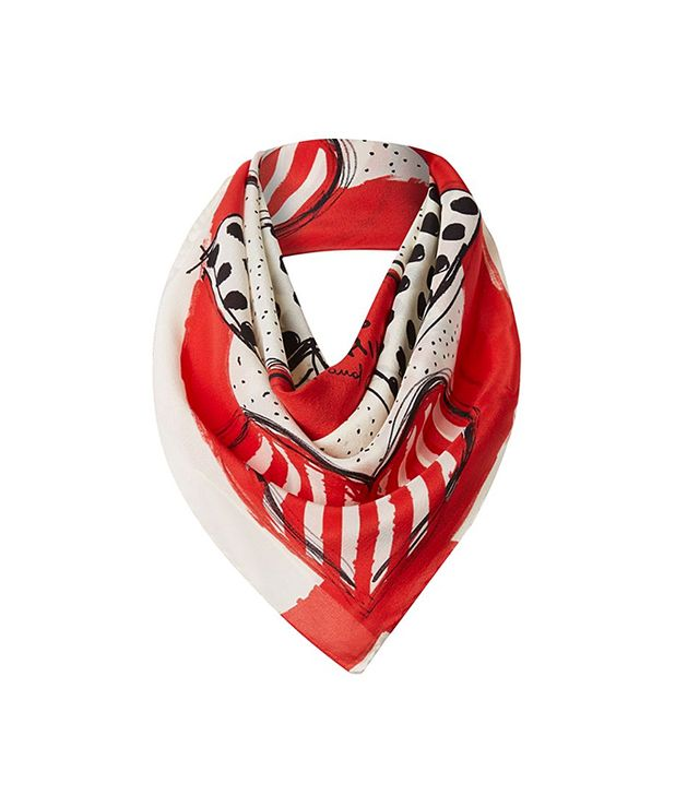 Moschino Polka Dot and Stripe Hearts Silk Square Scarf