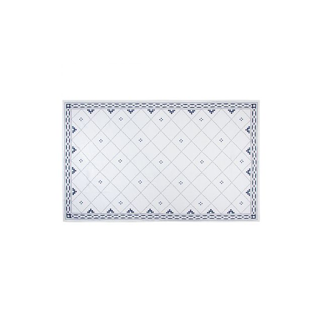 Huddleson Linens Anfa Blue and White Linen Tablecloth