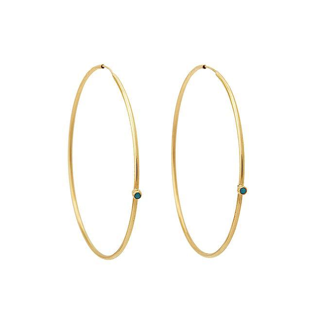 Jennifer Meyer Gold & Turquoise Hoop Earrings