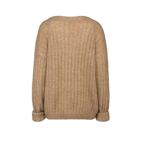 Dramatic Mohair Knit Camel Sweater