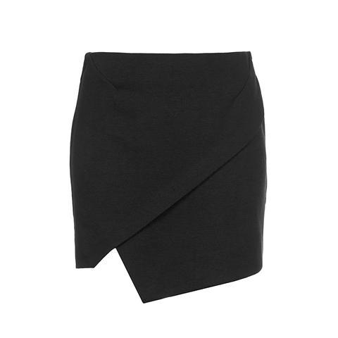 Asymmetric Wrap Mini Skirt