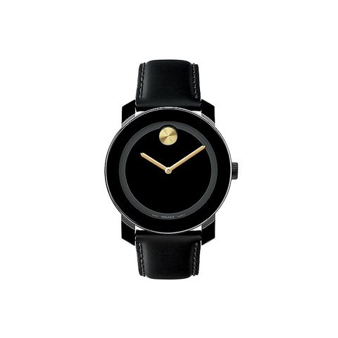 Bold Black/Gold Leather Watch