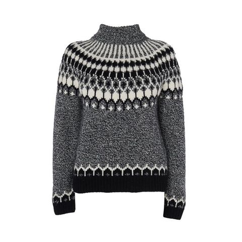 Roll Neck Intarsia Sweater