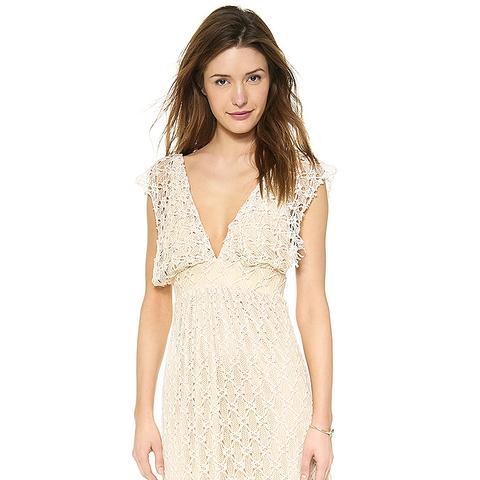 V-Neck Crochet Maxi Dress