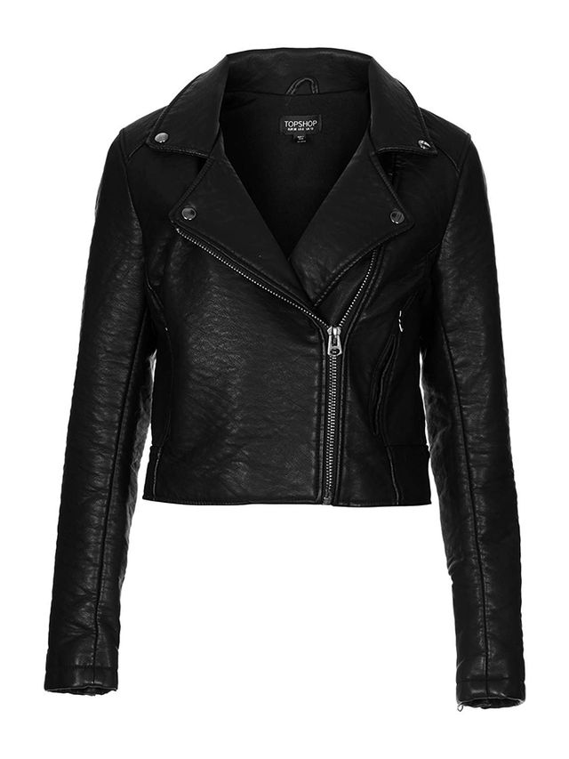 Tophop Collarless Faux Leather Biker Jacket
