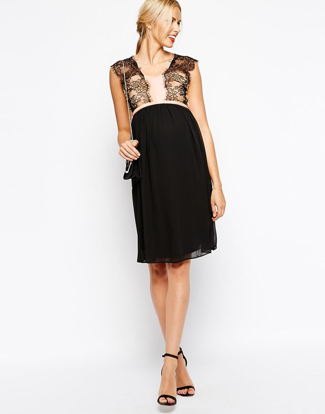 ASOS Maternity Midi Dress With Chiffon and Lace Overlay