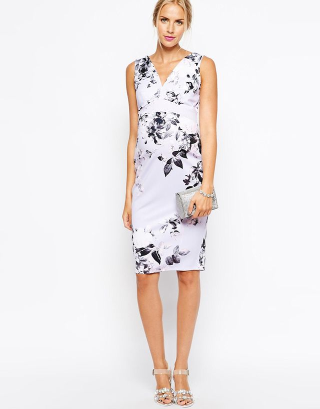 ASOS Maternity Body-Conscious Dress In Pastel Floral Scuba