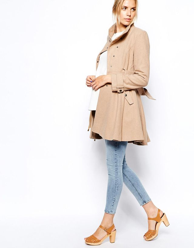 ASOS Maternity Fit and Flare Coat with Popper Front