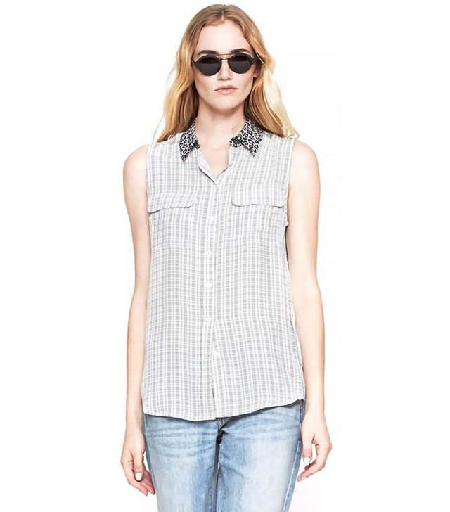 Equipment Sleeveless Slim Signature Shirt