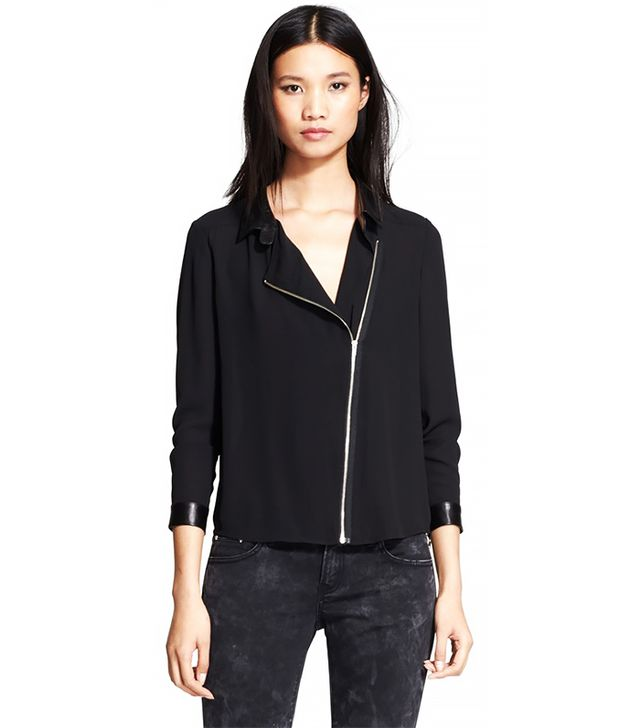 The Kooples Leather Trip Front Zip Crepe Top