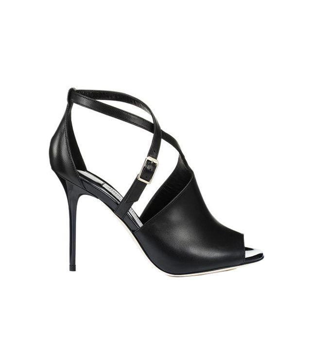 Jimmy Choo Leigh Black Nappa and Patent Leather Peep Toe Sandals