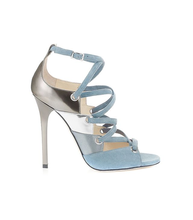 Jimmy Choo Linger Blue Gray Mixed Material Sandals