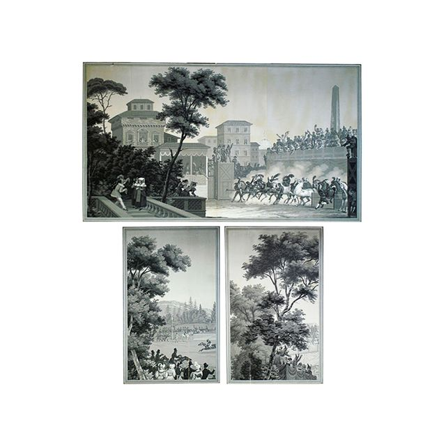 Zuber Wallpaper Series of Three Horse Racing Scenes