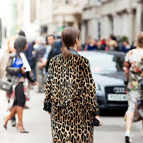 Animal print coat ankle boots street style