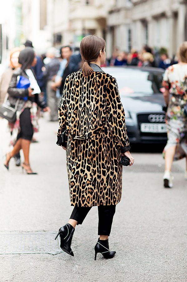Cheetah-Print Coat + Trousers + Stiletto Boots