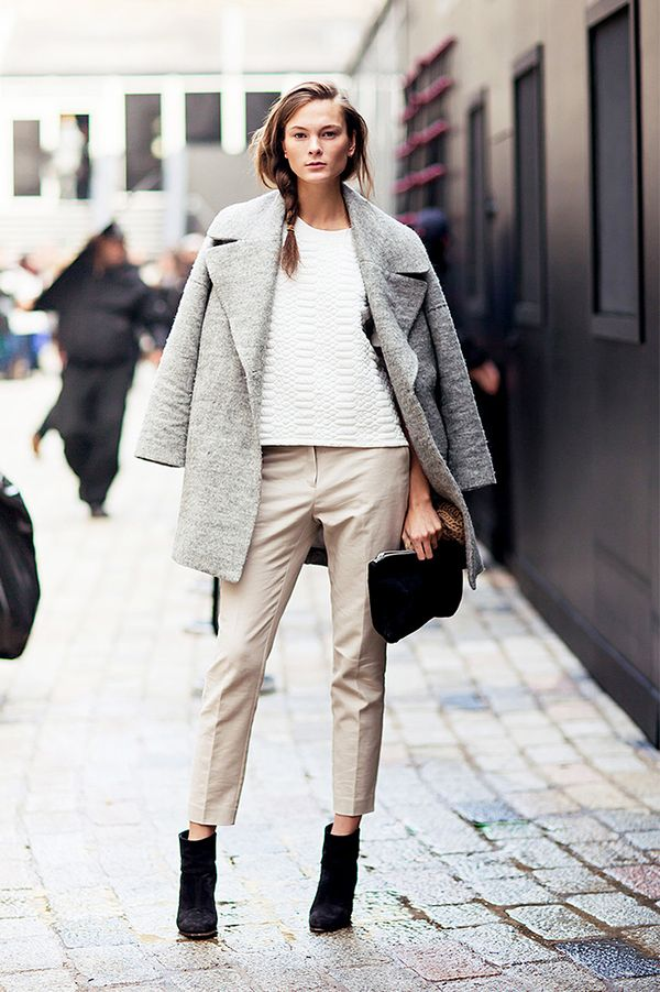 Draped Coat + Tailored Trousers + Black Booties