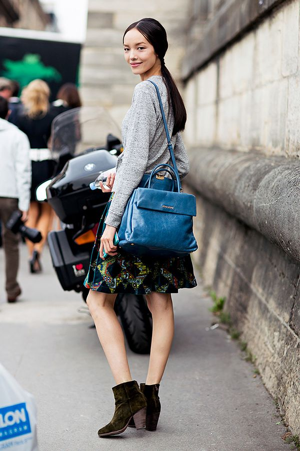 Pullover + Statement Skirt + Cross-Body Bag + Wooden Heel Boots