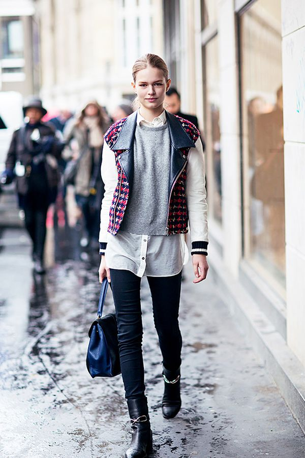 Two-Texture Jacket + Sweater + Button-Down + Moto Boots
