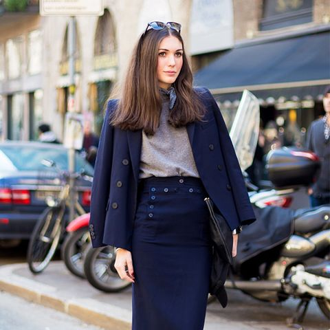 Skirt suit ankle boots street style