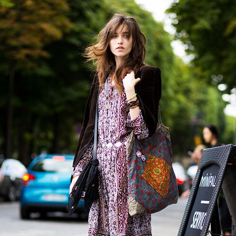 Bohemian dress ankle boots street style