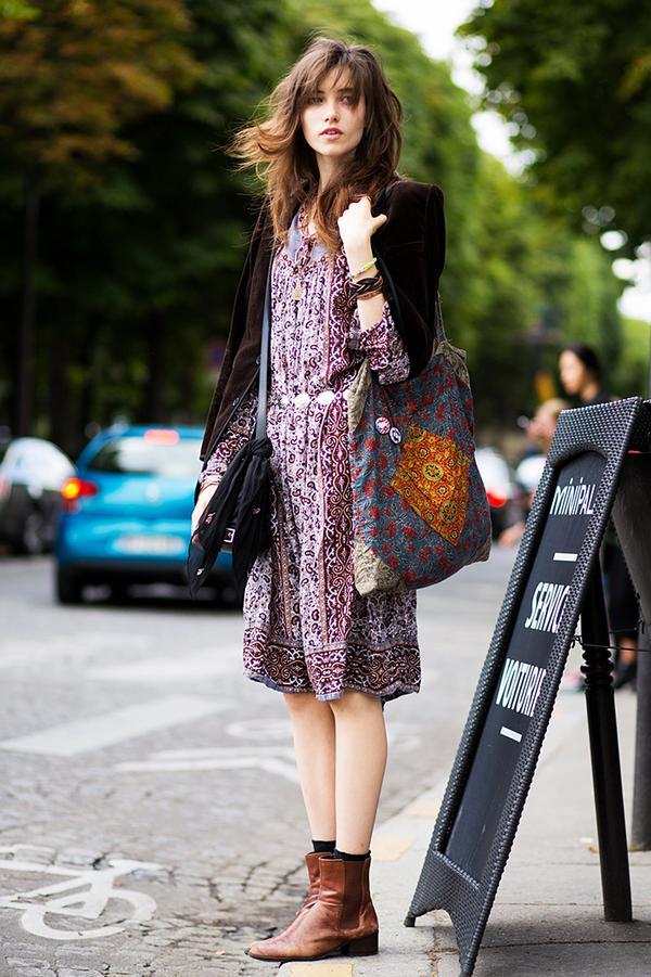 Velvet Blazer + Boho Dress + Flat Boots