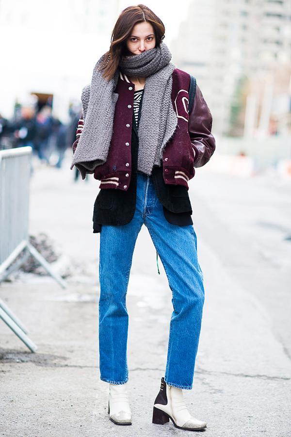 Oversized Scarf + Varsity Jacket + Mom Jeans + White Boots
