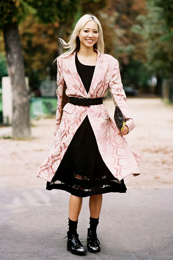 Belted Coat + LBD + Lace-Up Boots