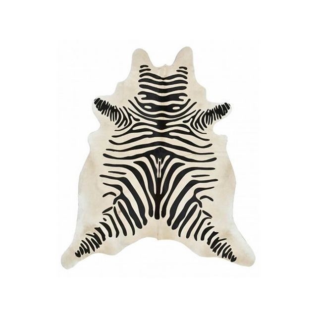 High Fashion Home Black and Beige Zebra Print Hide Rug