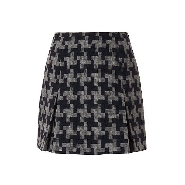 Carven Oversized Houndstooth Wool Skirt