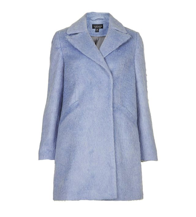Topshop Fluffy Wool Blend Swing Coat