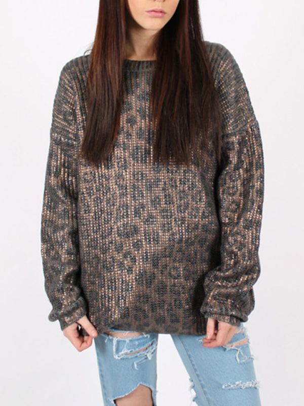 Ragged Priest Steel Leopard Knit