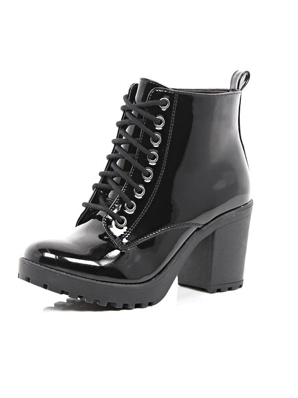 River Island Black Patent Lace Up Ankle Boots
