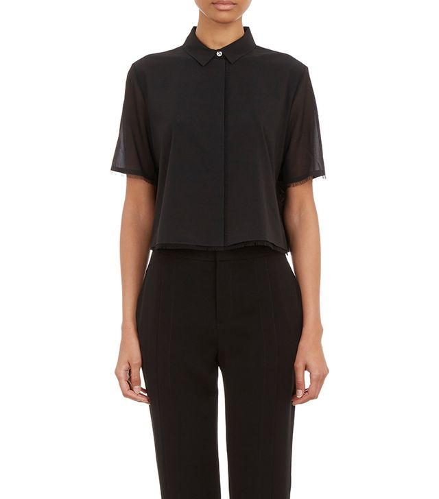 T by Alexander Wang Chiffon Cropped Shirt