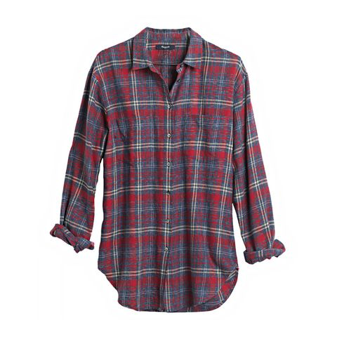 Flannel Oversized Boyshirt in Bainbridge Plaid
