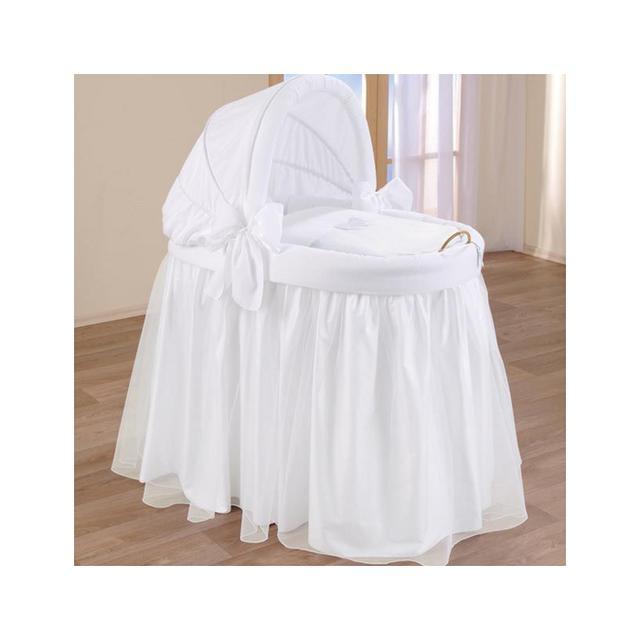 Blue Almonds Wicker Crib with Hood in Pure White Dream