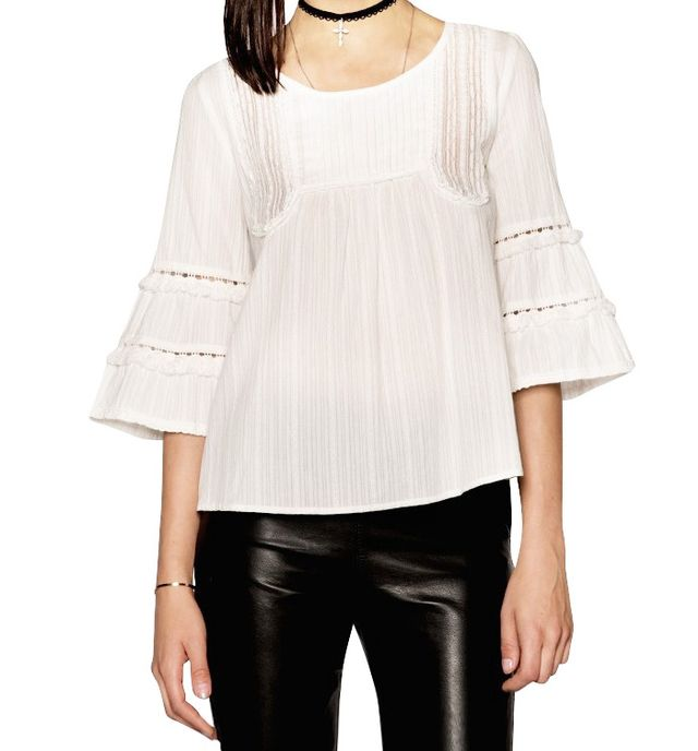 Pixie Market Jessica White Fringe Lace Top
