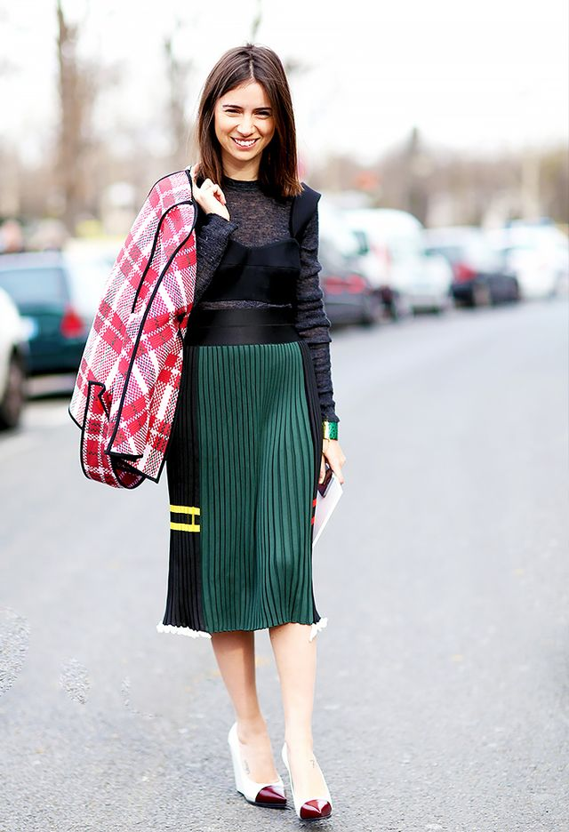Style Tip: Wear a bralette over your sweater and tuck it into a pleated skirt for major fashion editor vibes.