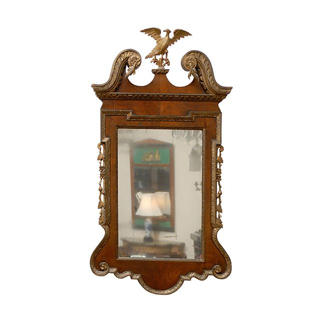 1st Dibs Georgian Style Walnut and Gilt Mirror with Eagle Crest and Swan Neck Pediment