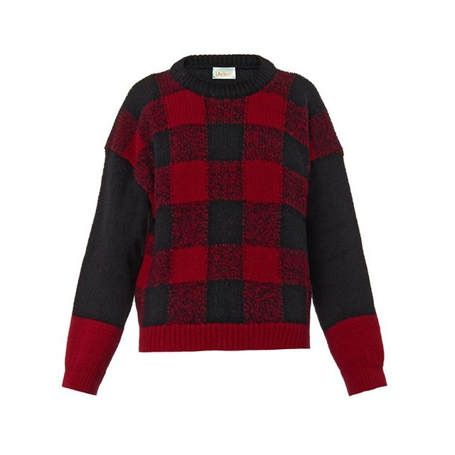 Aries Bi-Colour Checked Wool Sweater