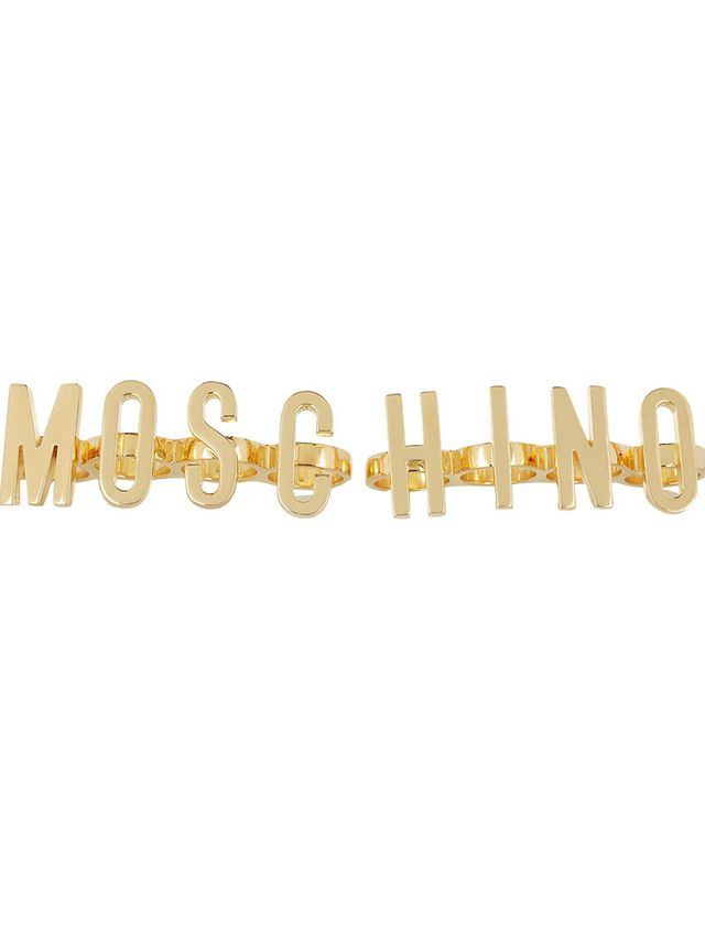 Moschino +V&A Set Of Two Gold-Plated Knuckle Rings