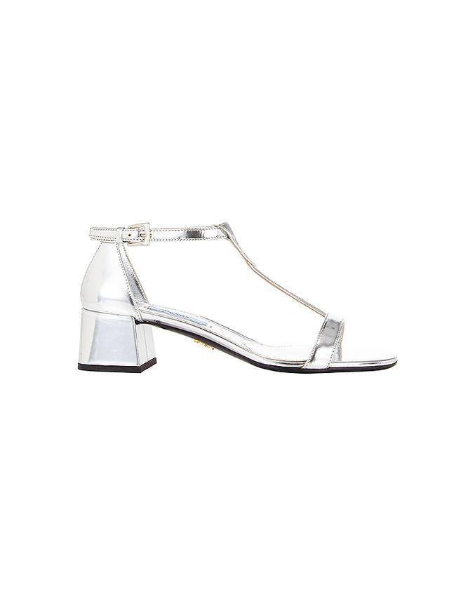 Prada Block Heel T-Strap Sandals