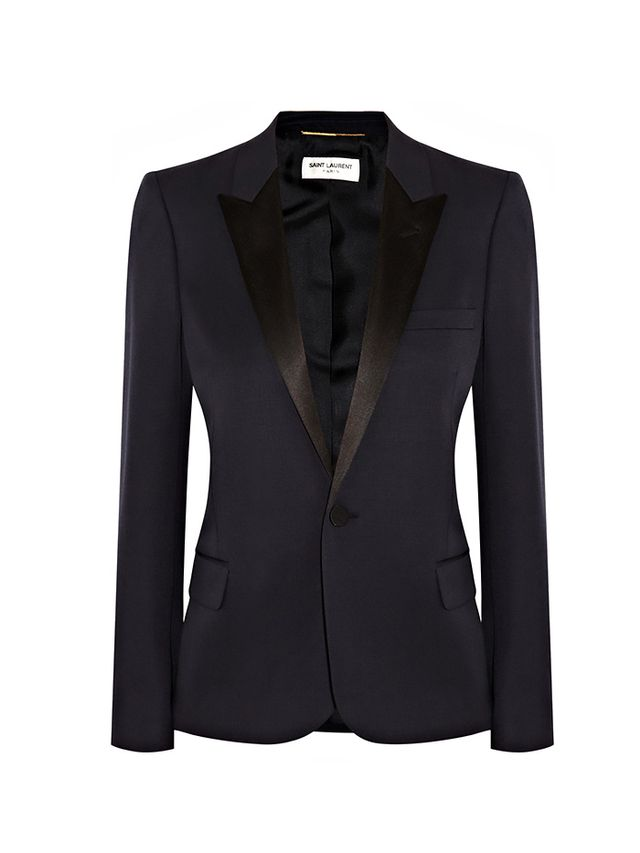 Saint Laurent Silk Satin-Trimmed Wool Blazer