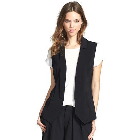 Twill Blazer-Style Vest