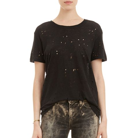 Hole-Distressed T-Shirt