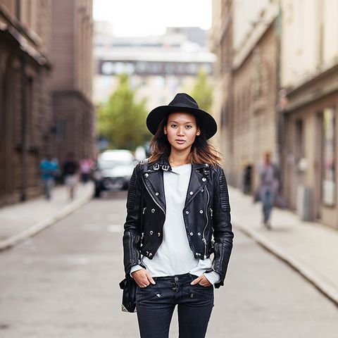 skinny jeans with moto jacket and hat