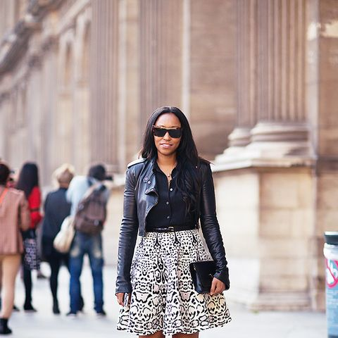 animal print skirt with leather jacket