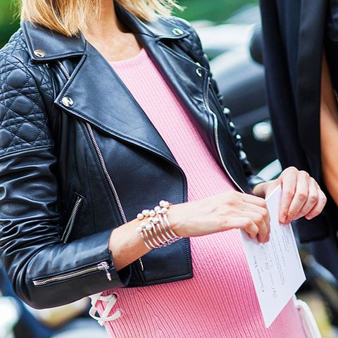 sweater dress and moto jacket