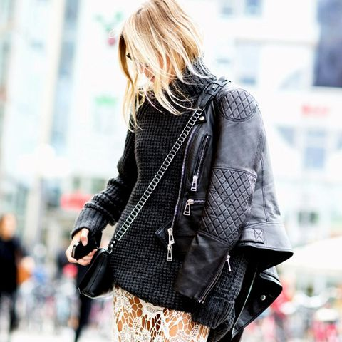 leather jacket over lace